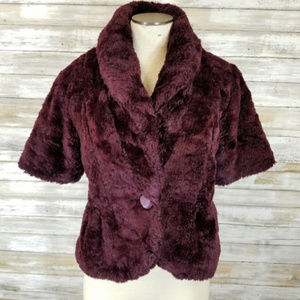 Kersh Purple Faux Fur Coat w/ High Collar